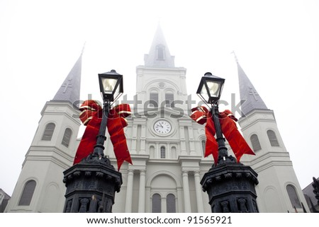 Festive Lanterns in front of Saint Louis Cathedral - stock photo