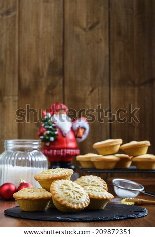 Festive mince pies for Christmas - stock photo
