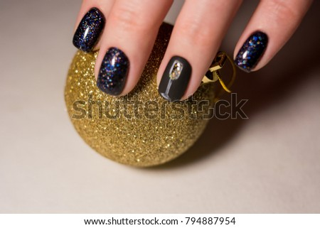 Festive Nail Design Champagne Gold Stock Photo Royalty Free