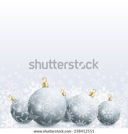 Festive New Year and Christmas card with grey christmas balls and snowflakes. Stylish New Year and Christmas background. Beautiful winter wallpaper. Raster illustration - stock photo
