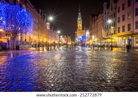 festive night streets of Gdansk - stock photo