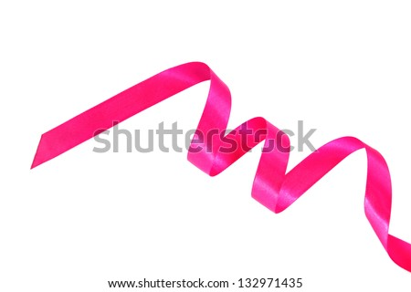 Festive pink ribbon curls on a white background. - stock photo