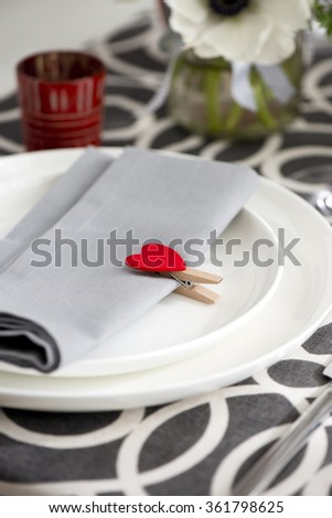 Festive place setting for Valentine's day - stock photo
