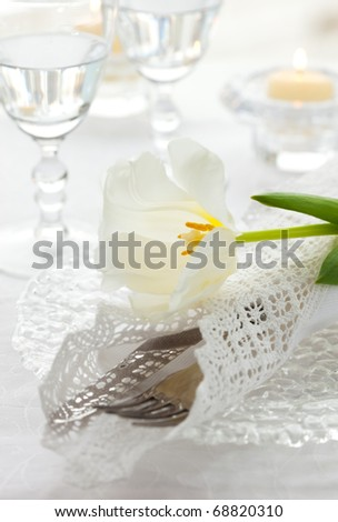 Festive place-setting with white tulip and napkin