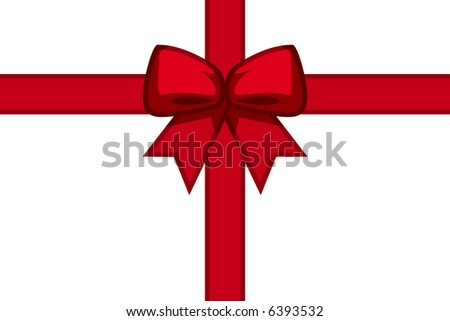 Festive presents ribbon, isolated against white background