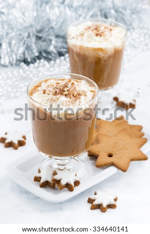 festive pumpkin latte and almond biscuits, top view, vertical - stock photo