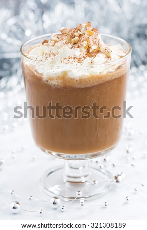 festive pumpkin latte, closeup, vertical