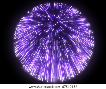 Festive purple fireworks at night over black background - stock photo