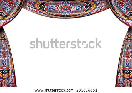 Festive Ramadan Curtains Full Set Isolated on White Background - stock photo