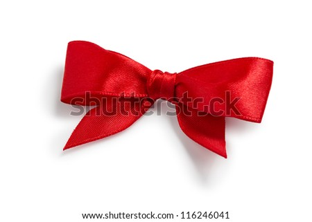 Festive red bow made of ribbon isolated on white