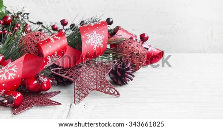 Festive Red Christmas Decoration with Ribbon and Glitter Star
