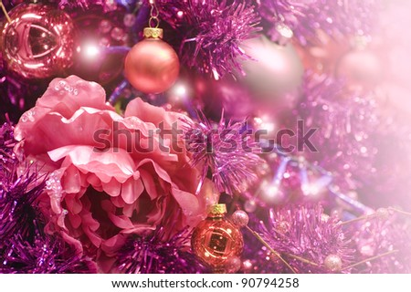 festive red colored decoration for Merry Christmas and a happy new year with flower - stock photo