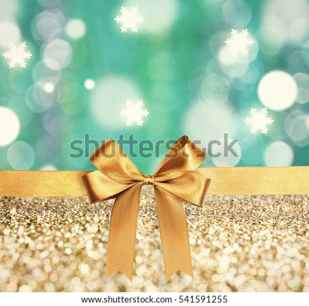 Festive ribbon bow on bright creative background