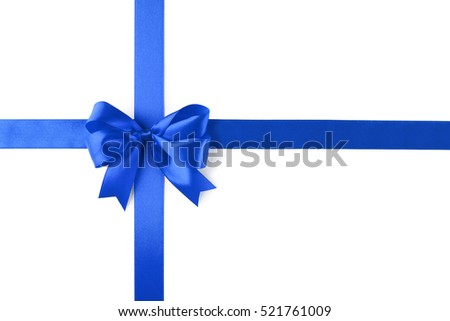 Festive ribbon bow on white background