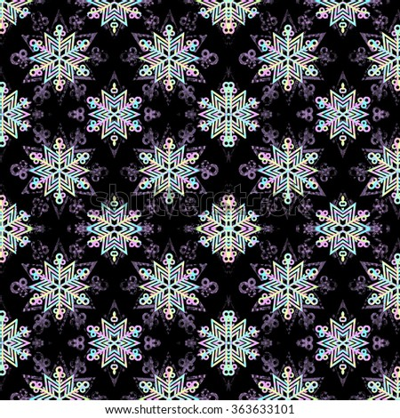 Festive seamless pattern. Merry Christmas and happy new year snowflake made with colorful triangles background. Good for invitation or greeting card background, wraps, web template. - stock photo