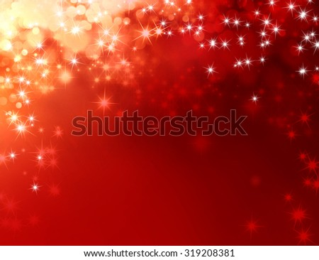 Festive shiny red background with sparkling lights raining down - stock photo