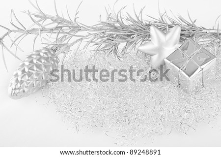 Festive silver christmas decoration - stock photo
