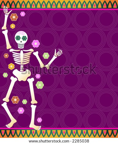 Festive skeleton and flowers on a colorful patterned background - great for Dia de los Muertos - stock photo