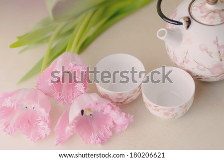 festive still life on a light background pink tulips and tea service - stock photo