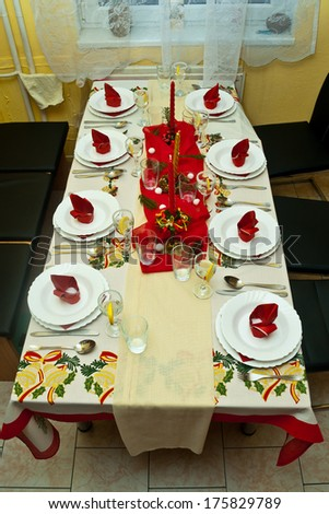 festive table on christmas day - stock photo