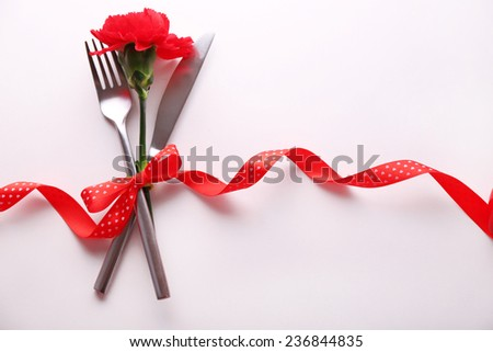 Festive table set for Valentines Day - stock photo