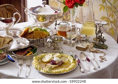 Festive table setting - stock photo