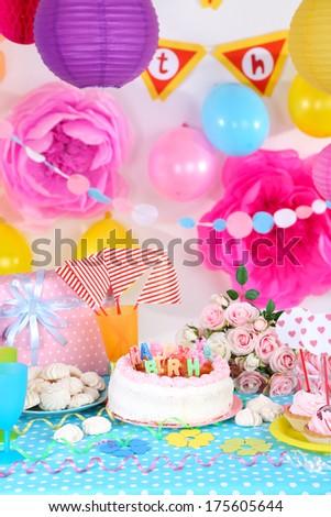 Festive table setting for birthday on celebratory decorations  sc 1 st  Shutterstock & Festive Table Setting Birthday On Celebratory Stock Photo (Edit Now ...
