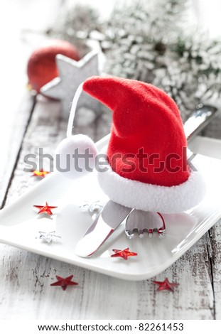 festive table setting for christmas - stock photo