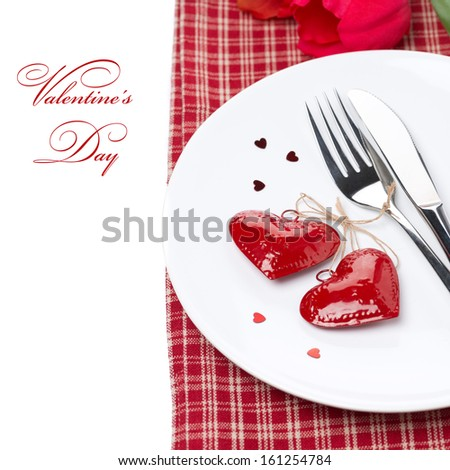 Festive table setting for Valentine's Day, isolated on white