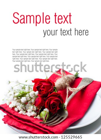 Festive table setting with red roses, napkins and vintage crockery on a white background, ready template - stock photo