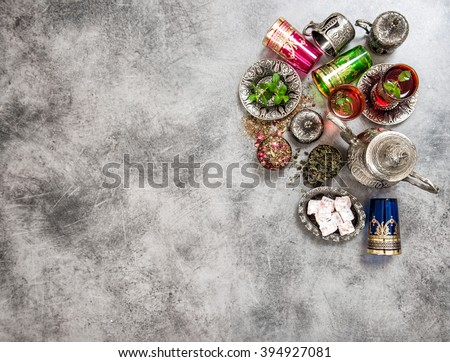 Festive tea table setting. Oriental hospitality. Eid Mubarak - stock photo