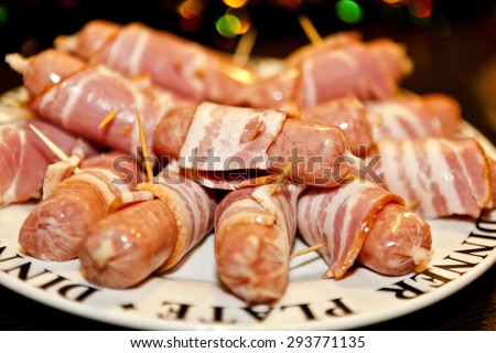 festive treat bacon wrapped sausages