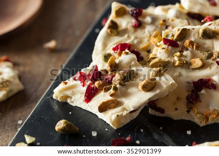Festive White Chocolate Holiday Bark with Cranberry and Pistachio - stock photo