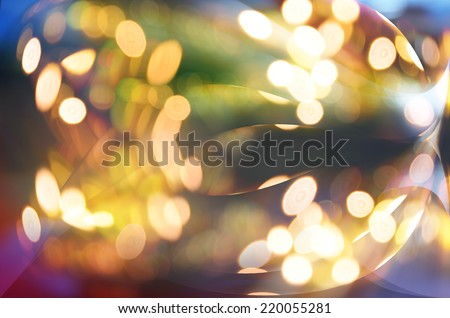 Festive winter gold abstract. background with bokeh lights and stars - stock photo