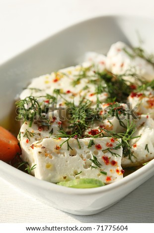 feta cheese in a plate with dill on top - stock photo