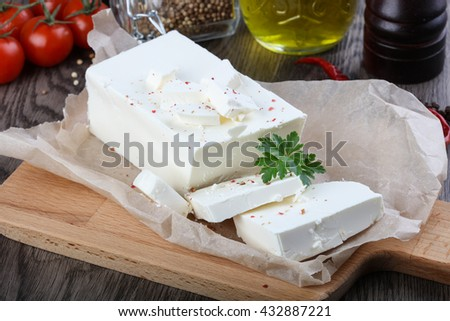 Feta cheese with spices ready for eat