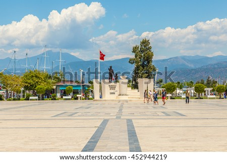 Fethiye - June 07: Monument of Mustafa Kemal Ataturk (The founder of Republic of Turkey) on the square. June 07, 2016, Fethiye, Turkey