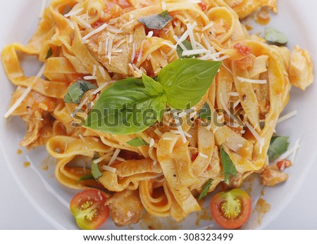 Fettuccine Pasta with Chicken and Vegetables - stock photo