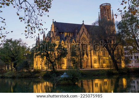 Feuersee and Johannes church in sunset, Stuttgart, Germany - stock photo