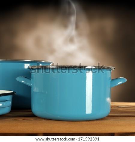 few blue pots  - stock photo