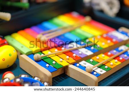 Few bright xylophones - stock photo