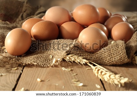 few brown eggs and rye  - stock photo