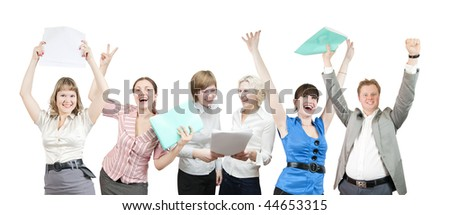 Few businesspeople is joy. Happy business team over white background - stock photo
