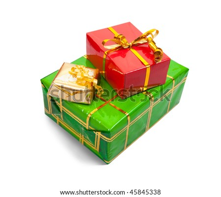 Few colored present boxes on white background. Isolated with clipping path