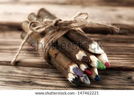 few crayons  - stock photo