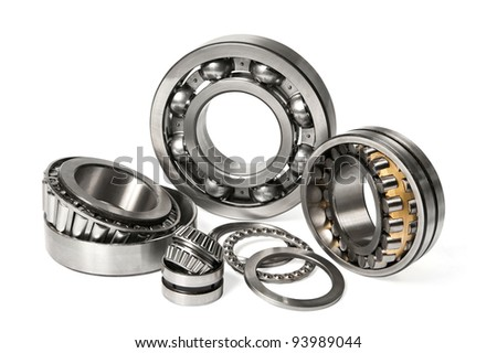 few different bearings on a white background with clipping path