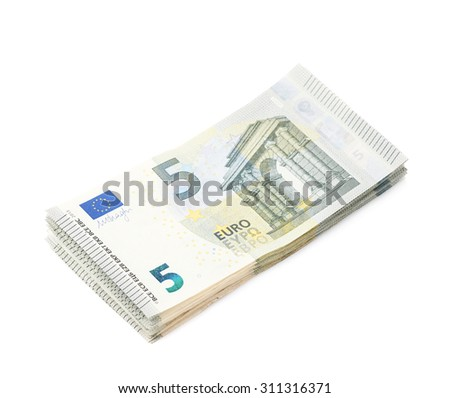 Few five euro bank note bills in a stack, isolated over the white background