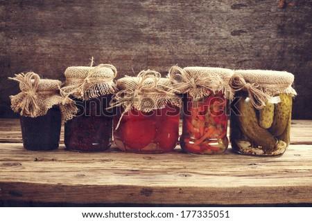 few jars  - stock photo