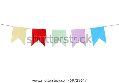 Few motley paper flags hanging with rope on white background. Clipping path is included