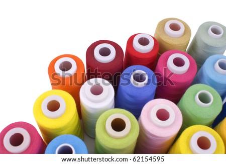 few nice colorful bobbins isolated on white - stock photo